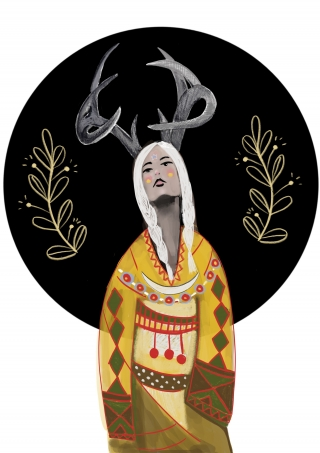 Women with antlers in front of a black full moon.jpeg