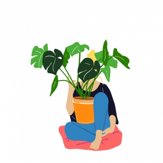 Girl holding plants