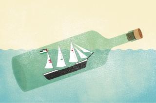 Sinking boat in the bottle