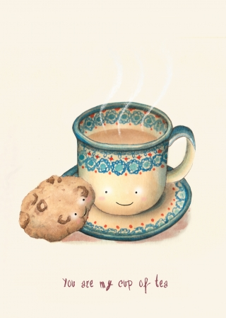 Cute cup of tea and a cookie