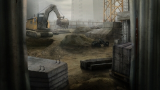 Construction site with the excavator and concrete materials