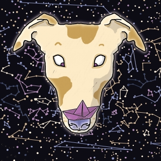 Constellation of the dog - funny space greyhound with spots holding a paper boat on its nose.jpg