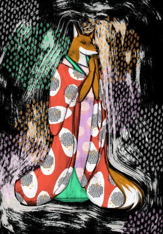 Madame Kitsune - fox in kimono inspired by japanese folklore