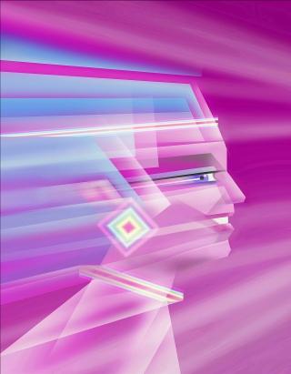 Digital portrait of woman in speed