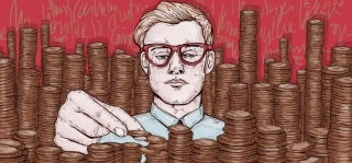 Banker counting coins