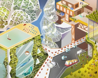 The city of future including flying cars and futuristic architecture.jpg