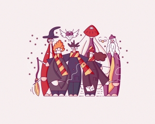 Harry Potter Characters with Dumbledore, Ron, Hermione and Snape