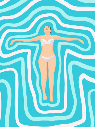 Woman floating in abstract water