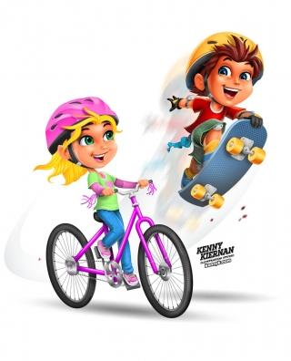 kids-playing-skateboard-bike-bicycle-boy-girl-safety-helmet-children-character-design