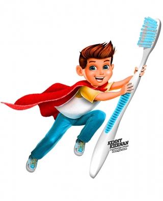 Toothbrush Boy Superhero brand mascot character design
