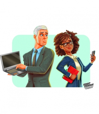 Old white guy and young black woman, iphone vs. laptop editorial illustration.jpg