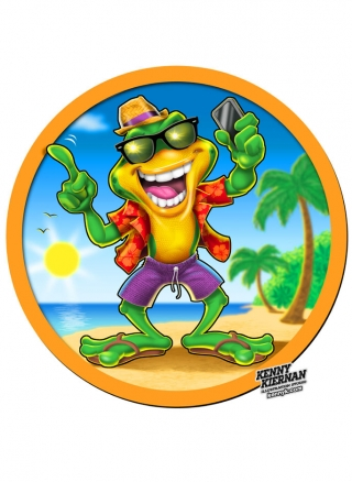 Funny Beach frog with phone brand mascot character design.jpg