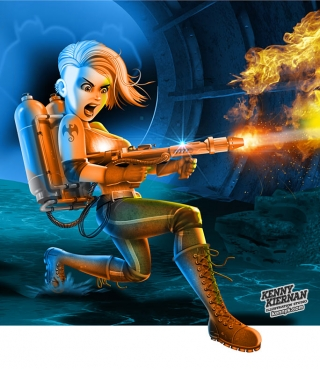 Flamethrower Warrior Girl game character design