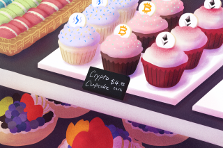 Crypto Cupcakes with the Bitcoin or Ethereum signs