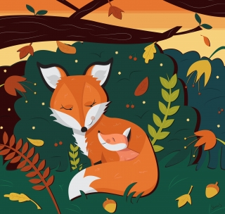 Fox with her little cute foxy daughter in the woods.jpg