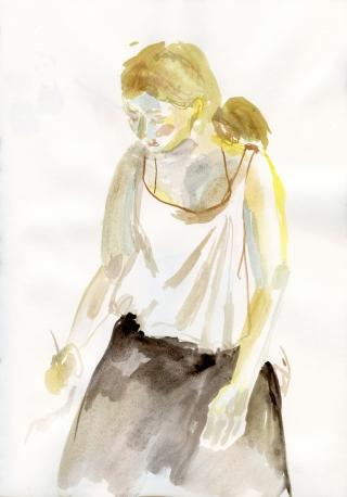 blonde girl painting