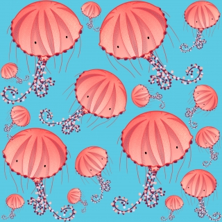 Compass jellyfish chrysaora Hysoscella Jellyfish of the Mediterranean Sea colorful pastel pink pattern on pale blue background