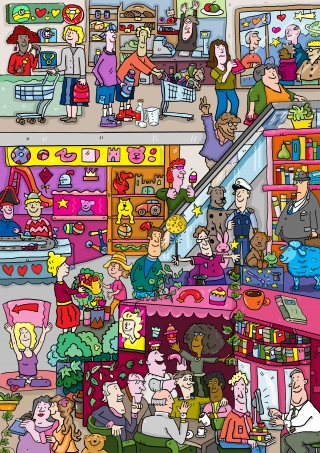 Where is Wally illustration style about shopping in shopping mall
