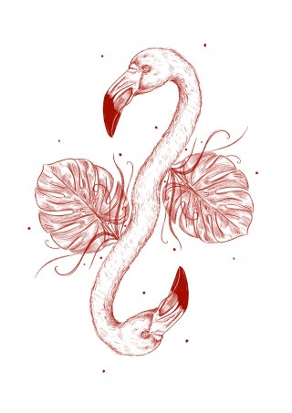 Flamingo with monstera plant leaf.jpeg