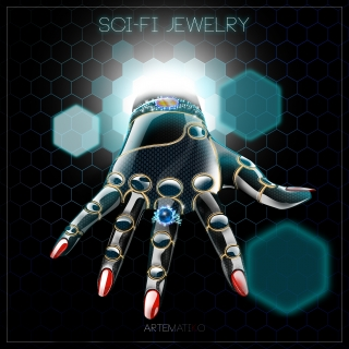 SHI-FI JEWELRY (pleaThe future of Jewelry Could it be an advertisement from the future? The concept for add of futuristic jewels. The robotic hand gets over the time gate from the future to our present.