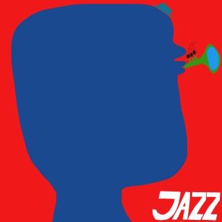 Jazz player with a big head playing on a little trumpet..jpeg