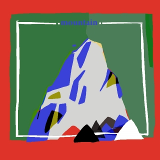 A mountain top on red background..jpeg