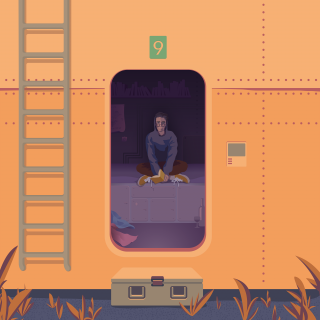 Person meditating in the future container