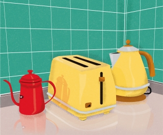 Kitchen tools: Pot, toaster, teapot