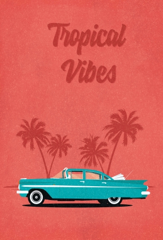 Vintage Cuban Old American Fifties Car with Tropical Palms in the background