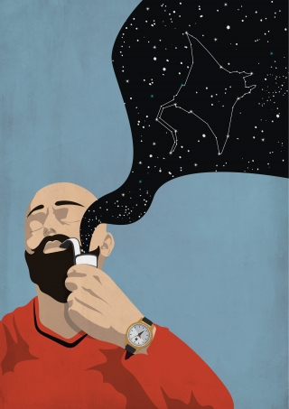 Man with beard and bald head smoking pipe and dreaming about  mantas in space