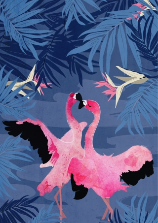 Flamingo Dance in the Blue Jungle Night