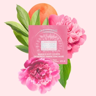 Collage style illustration done for French cosmetics brand l'Occitane, for a face mask with peonies extract.