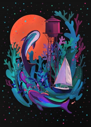 Abstract sea with water tower, fish whale, sea in space and sailing boat