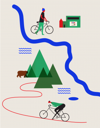 Bike Route to the mountains and river map