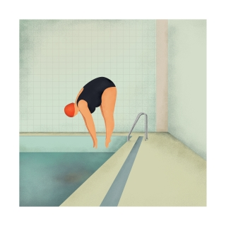 Curvy woman diving into swimming pool