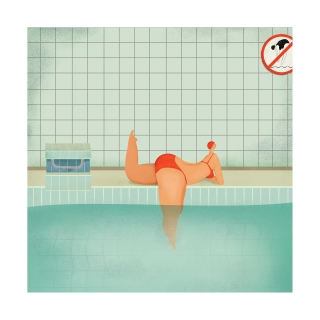 curvy woman lying by the swimming pool