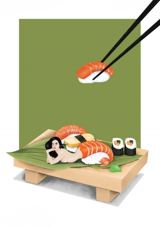 Plate of sushi with a sushi mermaid