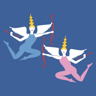 Two Angel Girls singing and flying