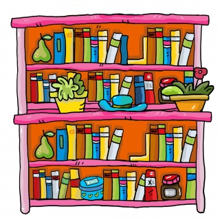 Bookshelf with colourful books