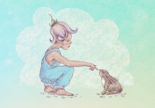 Fairy boy welcomes rabbit into spring