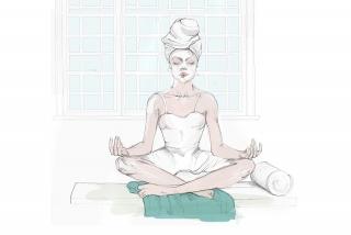 Young women meditating