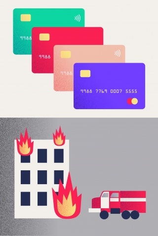 Credit Cards and Firefighters with burning building