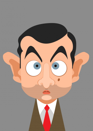 Portrait of Mr Bean, the funny guy and english man