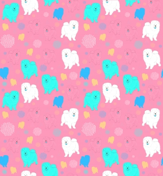 Funny and cute chow chow dog pattern with white and blue smiling dogs on a pink background