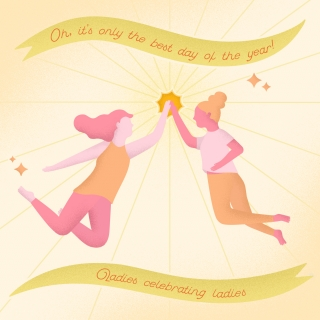 Two women celebrating interntional women's day with a high five.jpg