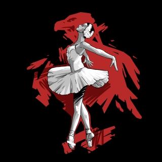 Ballerina Dancing in Red
