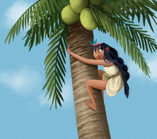 Native american girl climbing a coconut tree