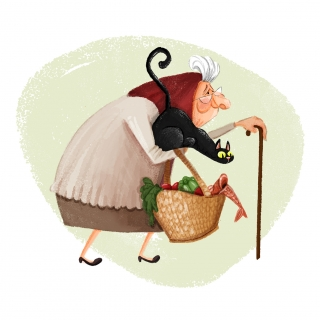 Sweet old lady holding a black cat and a bag