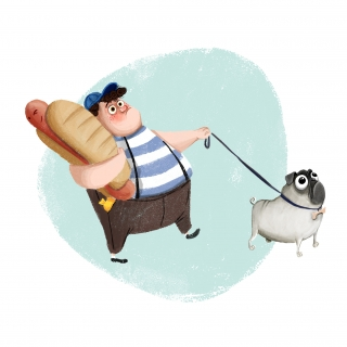 Chubby kid walking with a pug and holding a hotdog