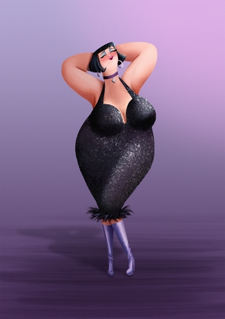 Chubby girl in a twenties style sequin black dress